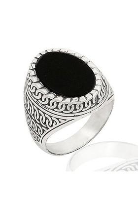 Anıyüzük Oniks Taşlı Gümüş Erkek Yüzüğü