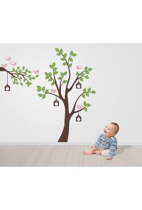 Besta Pembe Kuşlu Ağaç Duvar Sticker