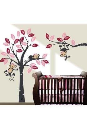 Besta Maymunlu Ağaç Duvar Sticker