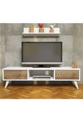 Minar Aspen Tv Ünitesi - Ceviz/Beyaz