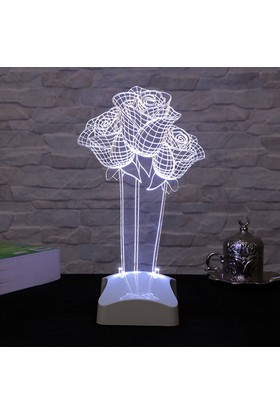 Dekorjinal 3 Boyutlu Gül Çiçek Lamba V23D099