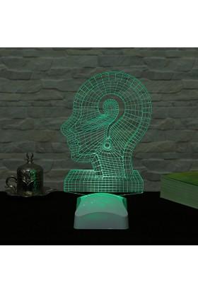 Dekorjinal 3 Boyutlu Soru işaret kafa Lamba V23D022