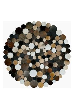 Tappeto Exclusive Deri Patchwork Multi Kahve - 130x130 cm