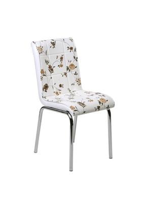 Kristal Masa 6 lı Monopetli Sandalye - Kahve Çiçekli