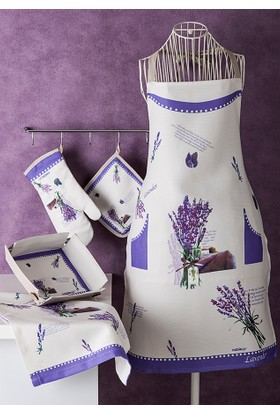 Noble Life Lavanta Desen 5 Parça Tekstil Mutfak Seti