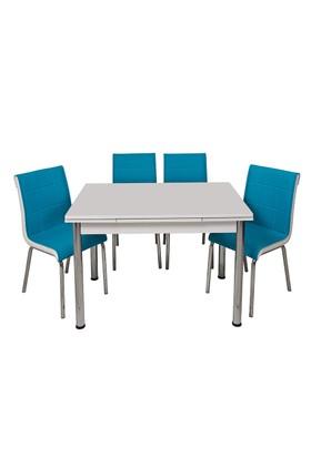 Kristal Masa Turkuaz Monopetli 6 Sandalye ve 70x110 Yandan Açılır Suntalem Beyaz Masa
