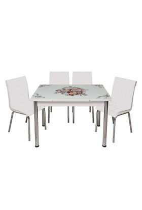 Kristal Masa Beyaz Monopetli 6 Sandalye ve Çiçek Sepeti Yandan Açılır CamMasa