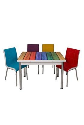Kristal Masa TK-68/4 Dört Renkli Ahşap Yandan Açılır ve 4 Sandalye Takımı