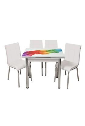Kristal Masa Beyaz Monopetli 4 Sandalye ve 60x90 Yandan Açılır Gökkuşağı Cam Masa