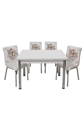 Kristal Masa Çiçek Sepeti Monopetli 6 Sandalye ve 70x110 Yandan Açılır Suntalem Beyaz Masa