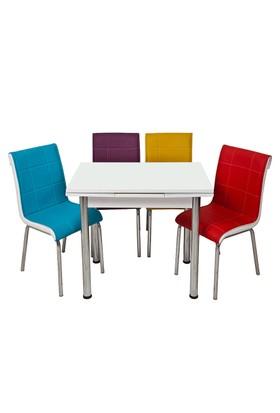 Kristal Masa Gökkuşağı Monopetli 4 Sandalye ve 60x90 Suntalem Yandan Açılır Beyaz Masa
