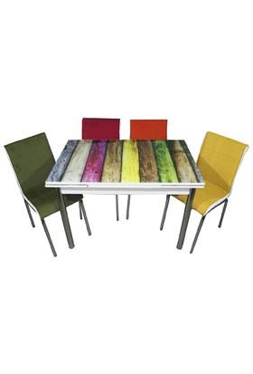 Mavi Mobilya Mutfak Cam Masa Takımı Yandan Açılır Gökkuşağı Desen (4 Kumaş Sandalyeli)