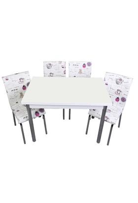 Kristal Masa Mor Fincan Monopetli 6 Sandalye ve 70x110 Yandan Açılır Suntalem Beyaz Masa
