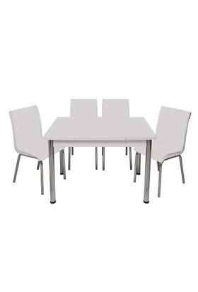 Kristal Masa 6'lı Beyaz Sandalye Yandan Açılır Masa - 70x120 cm