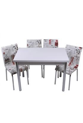 Kristal Masa Yeni Dünya Monopetli 4 Sandalye ve 70x110 Yandan Açılır Suntalem Beyaz Masa