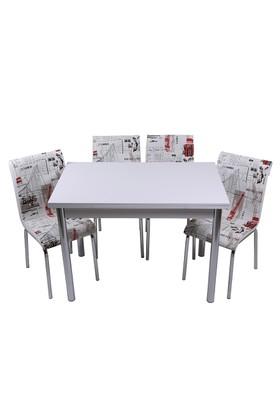 Kristal Masa Yeni Dünya Monopetli 6 Sandalye ve 70x110 Yandan Açılır Suntalem Beyaz Masa