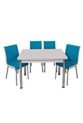 Kristal Masa Turkuaz Monopetli 4 Sandalye ve 70x110 Yandan Açılır Suntalem Beyaz Masa