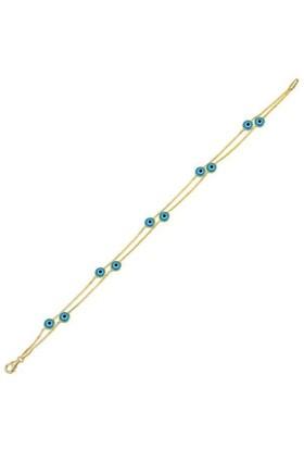 Bilezikhane İki Sıra Boncuklu Mavi 14 Ayar Altın Bileklik