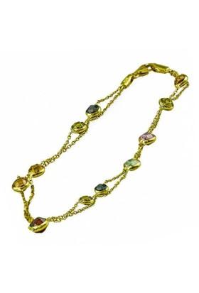 Bilezikhane İki Zincirli Renkli Şeker Taşlı 14 Ayar Altın Bileklik