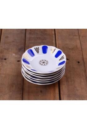 Porland Porselen Çay Tabağı 6 Lı Mavi Kahveci