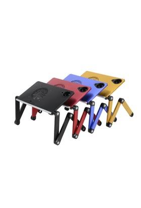 Portatif Katlanabilir Soğtuculu Alüminyum Laptop Sehpası Masası Gri