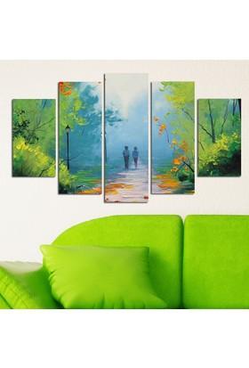 Casa De Arte 5 Parça Kanvas Tablo Orman Yürüyen Çift
