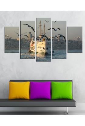 Casa De Arte 5 Parça Kanvas Tablo İstanbul Vapur
