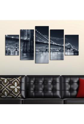 Casa De Arte 5 Parça Kanvas Tablo Köprü Siyah Beyaz