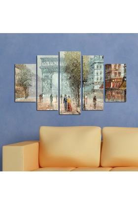 Casa De Arte 5 Parça Kanvas Tablo Kış Yürüyen Çift