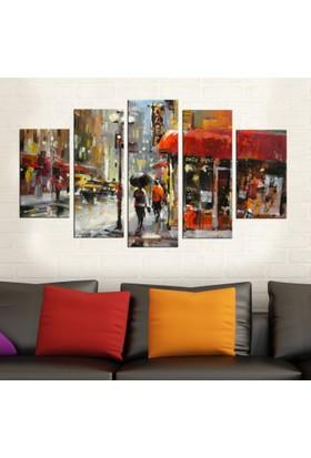 Casa De Arte 5 Parça Kanvas Tablo Şehir Cafe