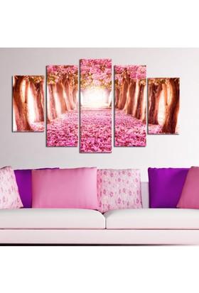 Casa De Arte 5 Parça Kanvas Tablo Pembe Ağaçlar