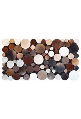 Tappeto E x clusive Planet Deri Patchwork Multi Kahve Halı - 80 x 150 cm