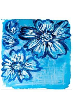 Arte Mavi Çiçek Kanvas Tablo