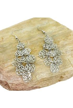 Chavin Çiçek Desen Çelik Bayan Küpe au51