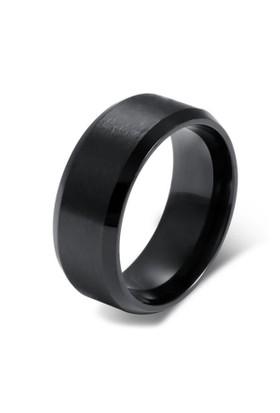 Chavin Mat ve Parlak Siyah Çelik Bayan Erkek Yüzük df27