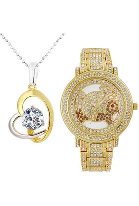 Chavin Taşlı Kalp Gümüş Kolye ve Preminum Saat Seti set18