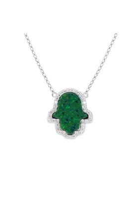 Chavin Yeşil Opal Taşlı Fatmanın Eli Gümüş Kolye cp62