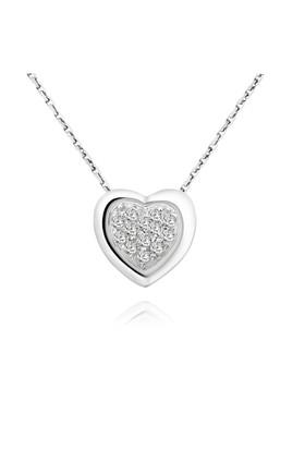 Chavin İç İçine Geçmiş Kalpler , Gümüş Bayan Kolye ak68