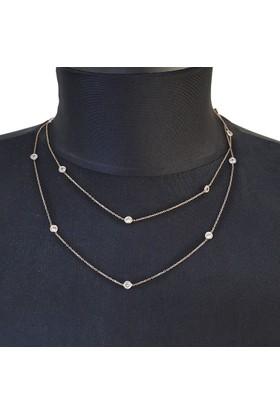 Chavin Tiffany Sıra Taşlı 93 cm. Uzun Zincir Gümüş Kolye db72