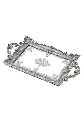 Biev Aynalı Silver Tepsi