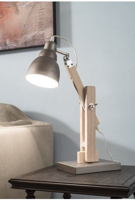 Evlina Home Ayarlanabilir Ahşap & Metal Masa Lambası