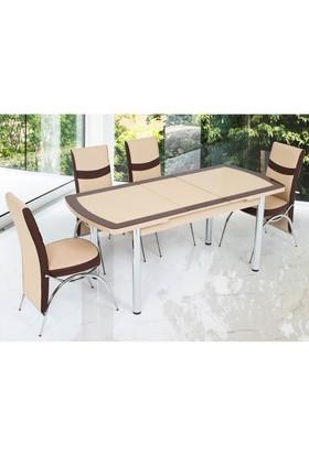 Gül Masa Oval Kelebek Masa Sandalye Takımı 4 Sandalyeli Vizyon Kapuçino Kahve Bantlı