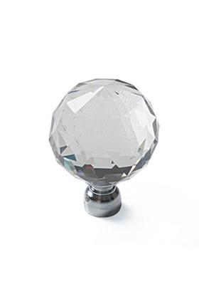 Trendist Kristal Düğme Kulp - Şeffaf Küre 20 mm