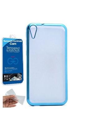 Teleplus HTC Desire 830 Lazer Kesimli Silikon Kılıf Mavi + Cam Ekran Koruyucu