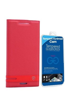 Teleplus HTC Desire 830 Mıknatıslı Lux Kapaklı Kılıf Kırmızı + Cam Ekran Koruyucu