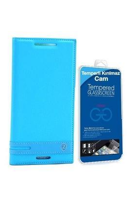 Teleplus HTC Desire 830 Mıknatıslı Lux Kapaklı Kılıf Mavi + Cam Ekran Koruyucu