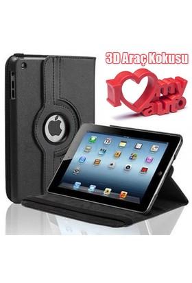 CoverZone iPad 2 Kılıfı 360 Derece Dönebilen Standlı Kapaklı Siyah + 3d Araç Kokusu