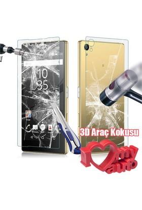 CoverZone Sony Xperia Z5 Premium Temperli Ön Ve Arka Yüzey Ekran Koruma Filmi + 3d Araç Kokusu