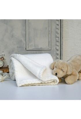 İkikız Krem Çift Taraflı Koyun Tüyü Battaniye