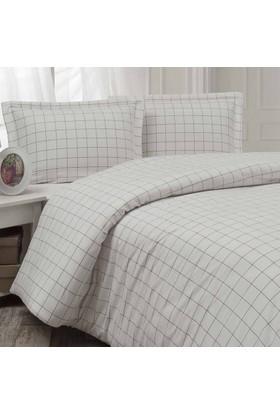 Enlora Home Ala Serisi İpliği Boyalı Ranforce Nevresim Seti Çift Kişilik Talia Beyaz